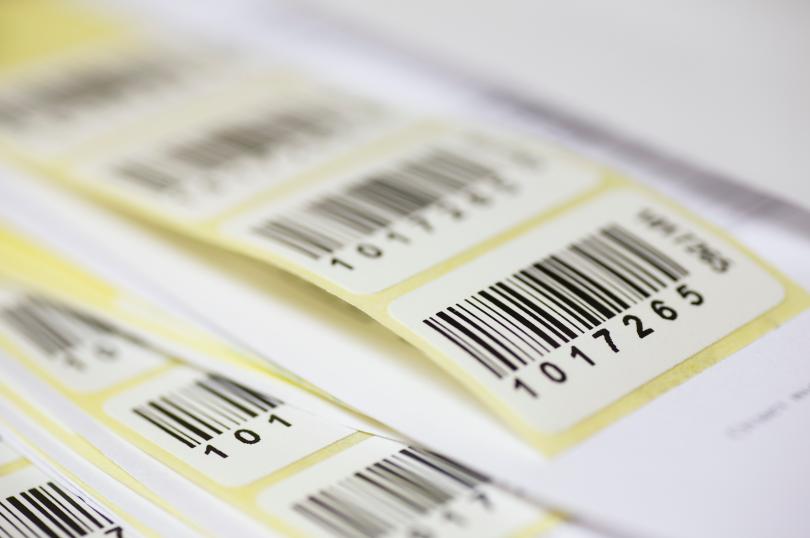 código de barras - várias etiquetas com códigos de barras impressos