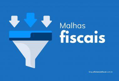 Malhas fiscais - Imagem com fundo azul e o ícone de um funil, à esquerda, dividido em três níveis por tons de azul diferentes e o título malhas fiscais a direita.