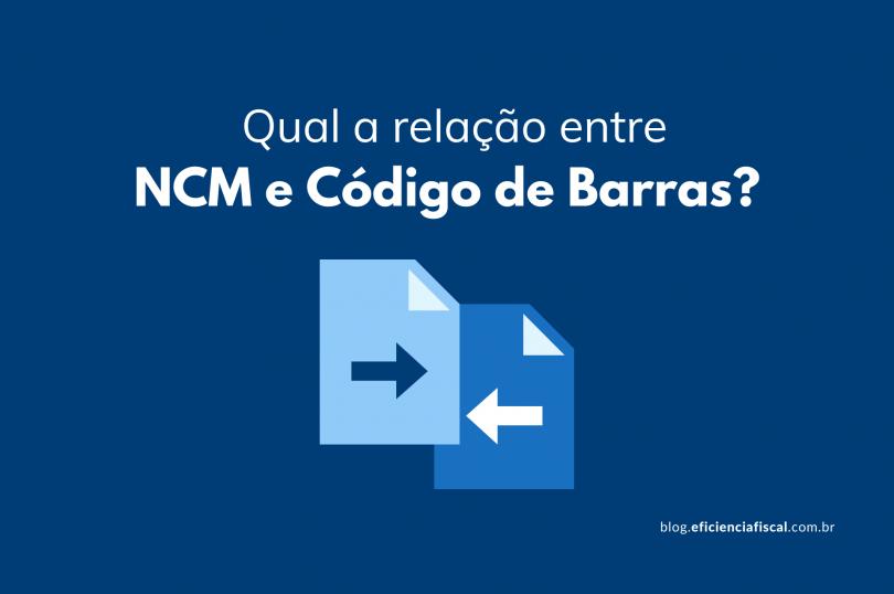 Relação entre NCM e código de barras - Na imagem de fundo azul, temos um ícone de uma mulher com expressão de questionamento e duas caixas de pensamento (uma a esquerda e outra à direita) com o símbolo da NCM e código de barras, respectivamente.