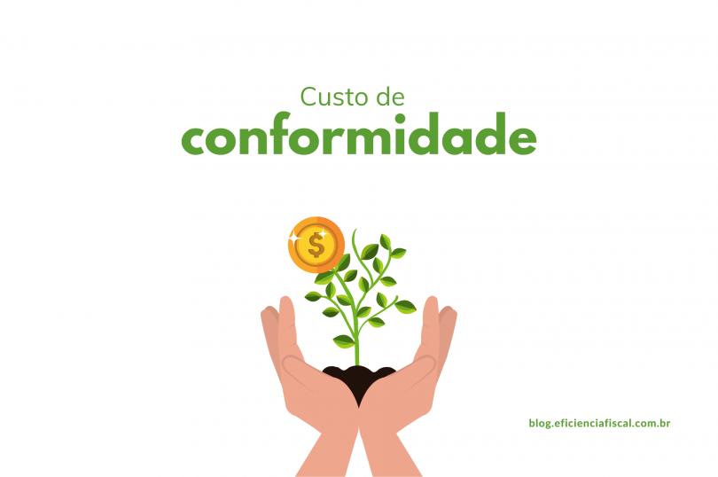 custo de conformidade - imagem com fundo branco e símbolo de uma mão segurando uma planta que floresce moedas.